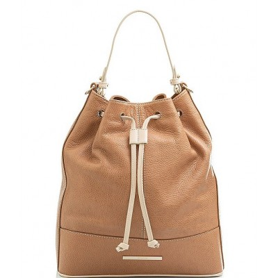 Henderson Collection Marlowe Leather Bucket Shoulder Bag Fawn 20144268