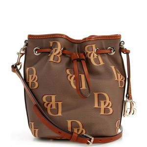 Women Monogrammed Collection Small Drawstring Bucket Bag Taupe 20099953