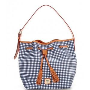 Womens Gingham Collection Aimee Drawstring Bag Navy 20155004