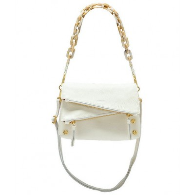 Dillon 6-Way Flap Small Snake-Embossed Leather Crossbody Bag Marshmallow White Snake/Brushed Gold 20141637