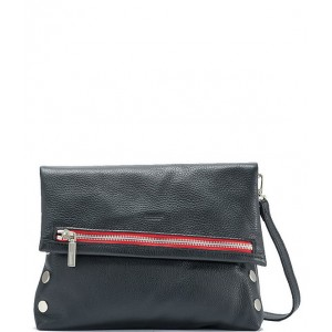 VIP Fold-Over Medium Crossbody Bag with Contrast Zipper Black/Brushed Silver/Red Zip 04793323