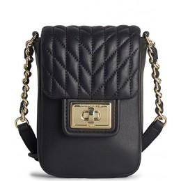 Women's Agyness Quilted Lambskin Flap Cell Phone Crossbody Bag Black/Gold 20159366