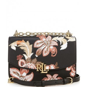 Womens Madison Floral Embroidered Leather Crossbody Bag Black 20091214