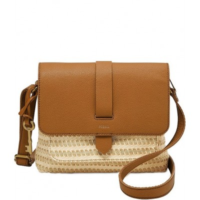Kinley Straw Small Fold-Over Crossbody Bag Natural 20153687