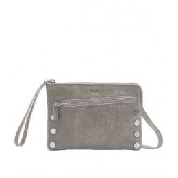 Nash Small Convertible Suede Top Zip Rivet Crossbody Bag Pewter/Brushed Silver 20120517