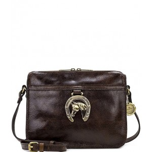 Women Heritage Horse Shoe Collection Nazaire Leather Gold-Tone Crossbody Bag Horse Shoe 20095139