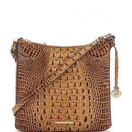 Women Melbourne Collection Katie Crocodile-Embossed Crossbody Bag Toasted Almond 05493453