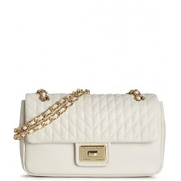 Agyness Pebble Leather Turnlock Shoulder Bag Winter White - $228.00 20110782