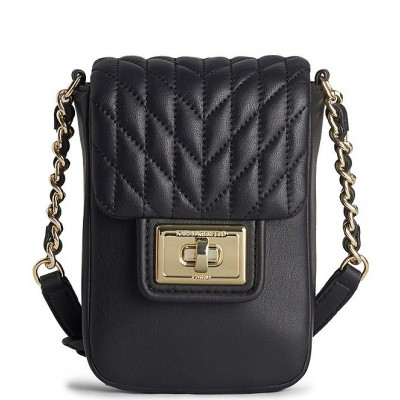 Agyness Quilted Lambskin Flap Cell Phone Crossbody Bag Black/Gold 20159366