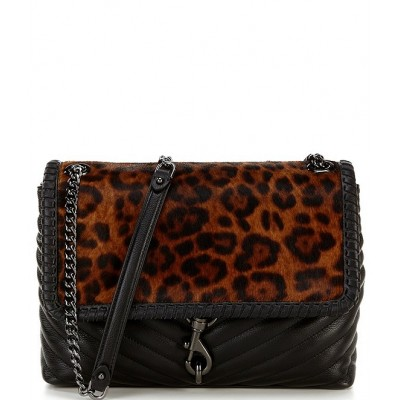Edie Whipped Leopard Print Haircalf Flap Leather Shoulder Bag Leopard 20103791