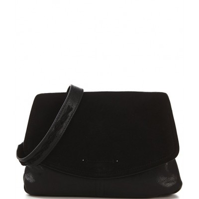 Lyia Leather and Suede Magnetic Snap Large Crossbody Bag Black 20145552