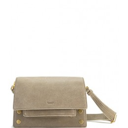 Women AJ Small Flap Leather Crossbody Bag Pewter/Brushed Gold 20092300