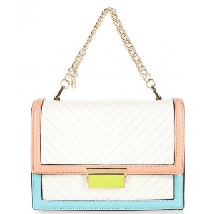 Women's Laisbyyx Quilted Colorblock Chain Strap Crossbody Bag White Pop 20155228