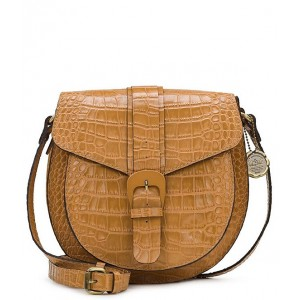 Women's Padova Textured Leather Buckle Saddle Bag Biscuit 20157477