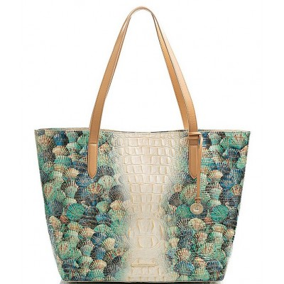 Clairview Collection Brooke Seashell Leather Slim Tote Bag Seashell 20144258