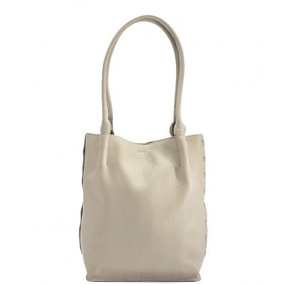 Oliver Pebble Leather Medium Tote Bag Cozy Grey/Brushed Silver 20141670