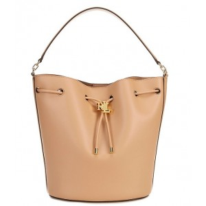 Women's Andie Leather Drawstring Large Shoulder Bag Nude/Nude 20145387