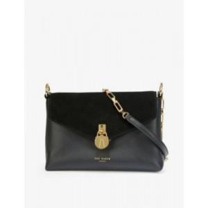 TED BAKER Women's Miliaa padlock leather and suede crossbody bag CSNYGYFH