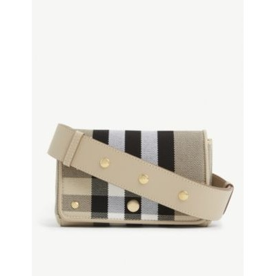 BURBERRY Women's Hackberry checked canvas cross-body bag 66DYWN3T