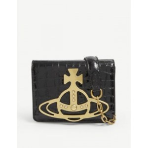 VIVIENNE WESTWOOD Archive Orb croc-embossed leather cross-body bag 4BXMLN1F