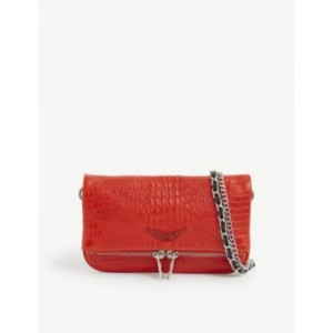 ZADIG&VOLTAIRE Rock nano croc-embossed leather clutch bag 8DR6WRB7