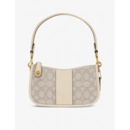 COACH Womens Swinger small cotton-blend and leather shoulder bag AJCGXDL8
