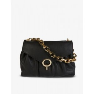 SANDRO Yza chain-strap grained-leather shoulder bag spring 2021 TWMLO1BC