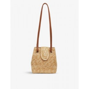 WHISTLES Winslow leather and straw shoulder bag 6ZHEH33Z