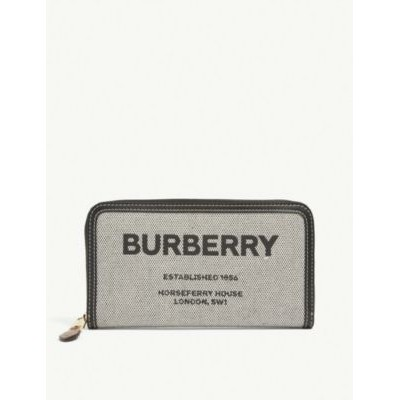 BURBERRY Women Elmore horseferry-print canvas and leather wallet business casual TKKHJS6F