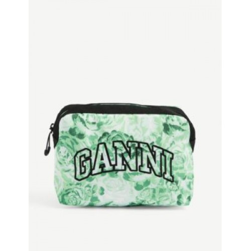 GANNI Womens Brand-embroidered floral-print recycled-polyester makeup pouch Designer MHDU8YVW