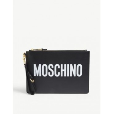 MOSCHINO Women's Logo print leather pouch outlet 6BA2HX65
