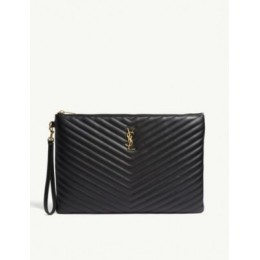 SAINT LAURENT Monogram quilted leather document pouch Discount 55OGV3J4
