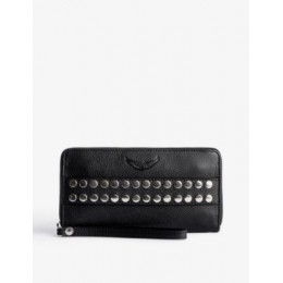 ZADIG&VOLTAIRE Women Compagnon stud-embellished grained-leather wallet Collection LH7W3YXP
