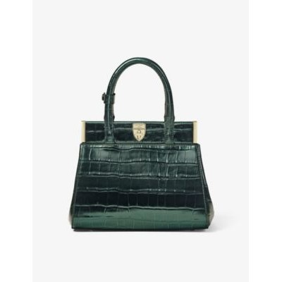 ASPINAL OF LONDON Grace mini crocodile-embossed leather top handle bag boutique Y51XAWM4