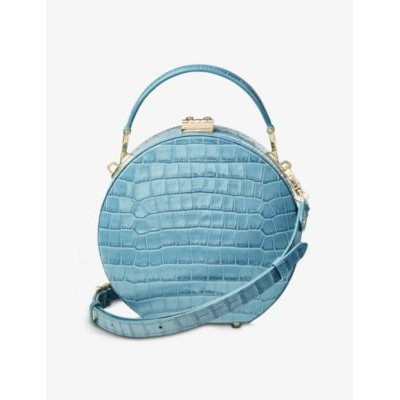 ASPINAL OF LONDON Womens Hat Box mini crocodile-embossed leather top handle bag Express 5UNK5HEY