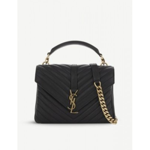 SAINT LAURENT Collège small quilted leather satchel bag AZA8VVAC