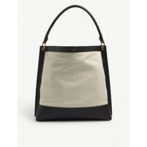 SAINT LAURENT Colour-block leather and canvas hobo bag The Best Brand V4YDIM73