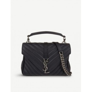 SAINT LAURENT Women Collège small quilted-leather satchel bag new look QUQKVTS3