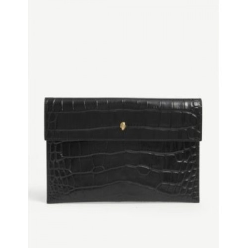 ALEXANDER MCQUEEN Skull-embellished crocodile-embossed leather envelope pouch JOLOQYS6