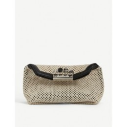 ALEXANDER MCQUEEN Womens Knuckleduster skull-embellished woven pouch 61RATEOI