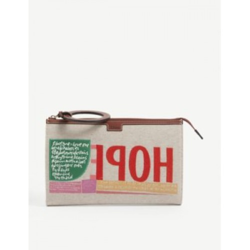 CHLOE Embroidered cotton clutch bag Trends 2021 767EVY6T