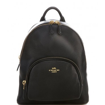 Carrie Pebble Leather Backpack Bag Black/Gold 20094588