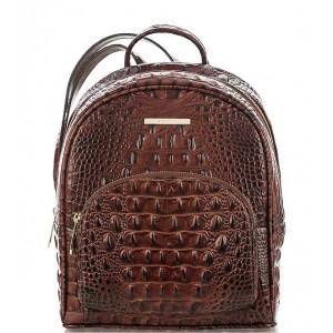 Melbourne Collection Mini Dartmouth Crocodile-Embossed Backpack Pecan 04931804