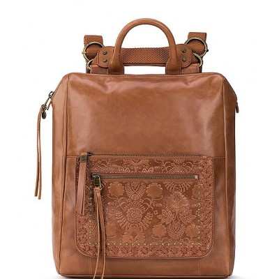 Women Loyola Leather Convertible Backpack Tobacco Floral Emboss 20095039