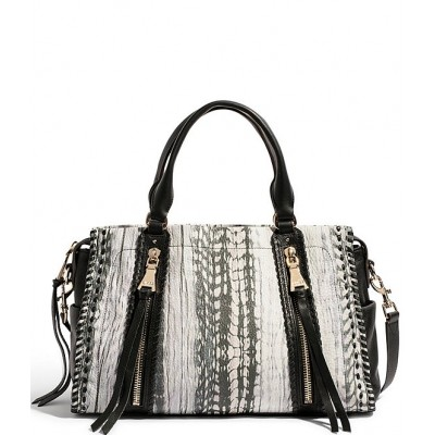 Bali Feather Printed Leather Triple Entry Satchel Bag Feather Print 20144414