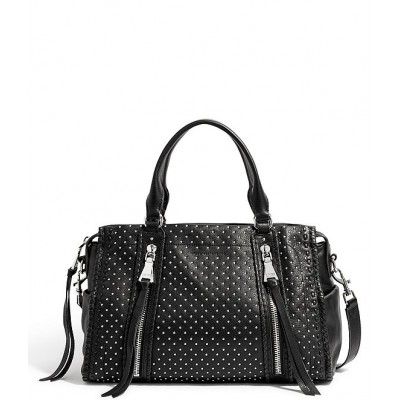 Bali Triple Entry Studded Leather Satchel Bag Black with Studs 20144413