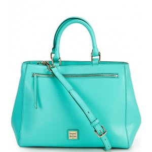 Saffiano Collection Leather Satchel Magnetic Snap Bag Mint - $268.00 20053885