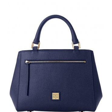 Saffiano Collection Small Zip Leather Satchel Bag Marine 20070377