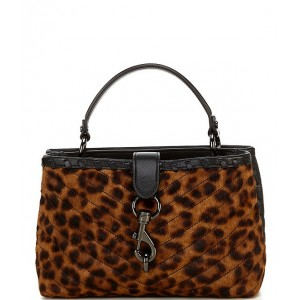 Women Edie Whipped Top Handle Quilted Leopard Haircalf Satchel Bag Leopard 20103792