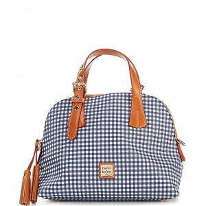 Women Gingham Collection Small Audrey Satchel Bag Navy 20155010